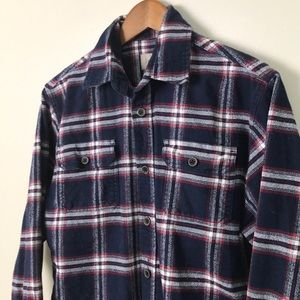 JACHS Brawny Blue Plaid Flannel Shirt Long Sleeve